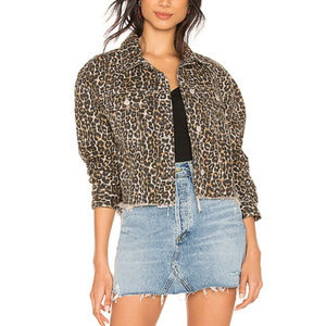 NWT Free People Cheetah Leopard Print Denim Jacket